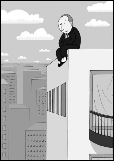 Barney Allis atop his beloved Muehlebach Hotel. Comic by Jimmy Grist.