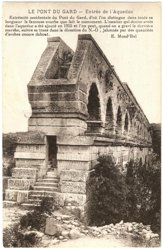 The Pont-du-gard-mond Roman aqueduct built in 19 BC, seen here in 1891. By E. Mond'Rel (Scan de carte postale) [Public domain], via Wikimedia Commons