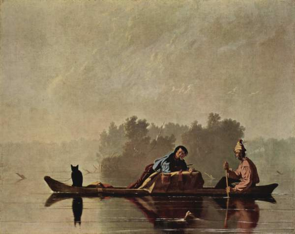 Fur Traders on Missouri River, painted by George Caleb Bingham c. 1845