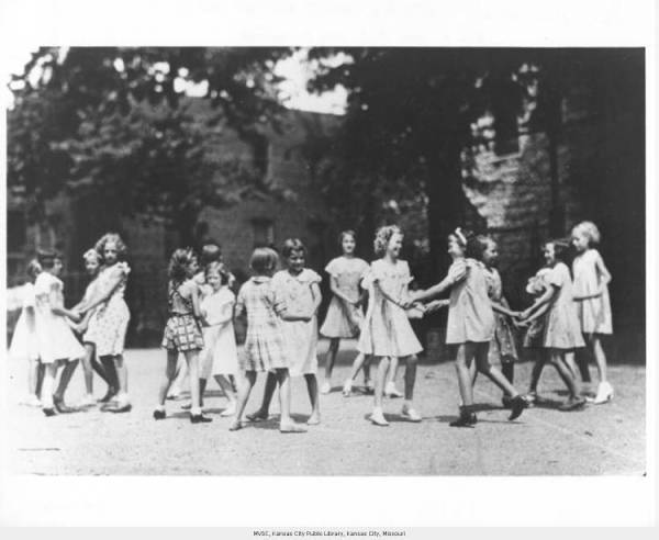 Girls Folk Dancing at the Mattie Rhodes Center, photo courtesy of the Missouri Valley Special Collections