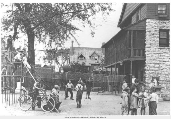 Playground at Mattie Rhodes Center, photo courtesy of the Missouri Valley Special Collections
