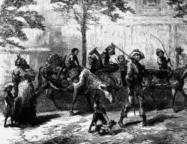 """Negro-Exodusters-en-route-to-Kansas-fleeing-from-the-yellow-fever""-Photomural from engraving Harpers Weekly,1870"
