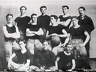 University of Kansas basketball team, 1899. James Naismith in upper right corner.