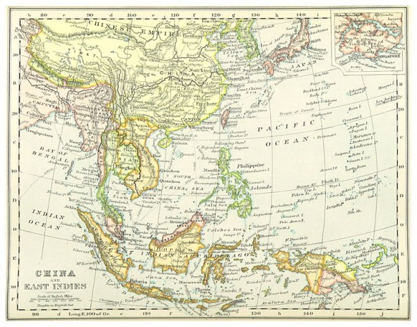 The British East Indies -- map of the long, hot ocean voyage