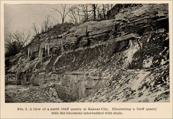 An example of the limestone bluffs to be gouged and settled