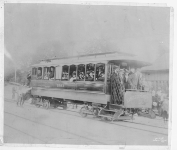 Passengers Riding in Streetcar. Missouri Valley Special Collections, Kansas City Public Library, 1895.