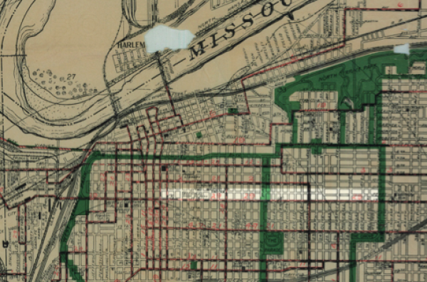 Berry Map Company. 1914 Map of Greater Kansas City. Kansas City, Missouri, 1914. (W. H. Miller's jitney route is highlighted just north of the 12th Street streetcar line)