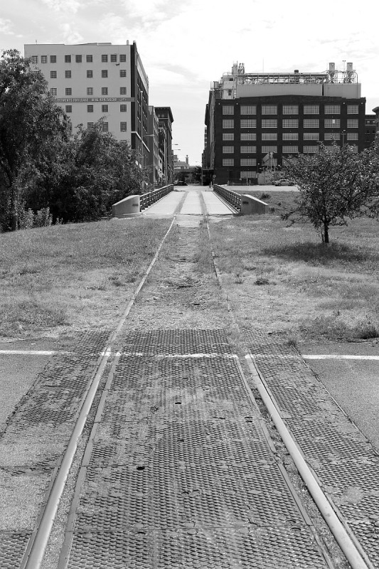 """Bean Branch"" in downtown KC. This line branched off the old KCS main down near the river and went up a very steep hill to reach a coffee bean distributor.""--Image and caption courtesy of the Akron Railroad Club"