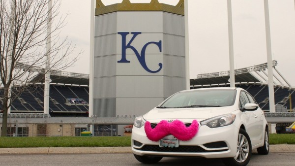 The trademark pink mustache, courtesy of KCUR