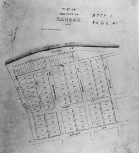 Original plat of the Town of Kansas, image courtesy of the Missouri Valley Special Collections, Kansas City Public Library, Central Branch