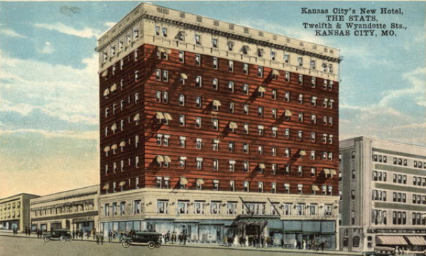 Stats Hotel, built in 1924  by Samuel Stats. Razed in 1973 for a parking lot.  Image courtesy of cardcow.com