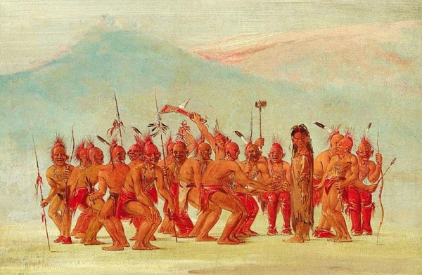 "According to elitejorg.com, ""George Catlin (1796-1872), Dance of the Berdache. Drawn while on the Great Plains, among the Sac and Fox Indians, the sketch depicts a ceremonial dance to celebrate the two-spirit person."""