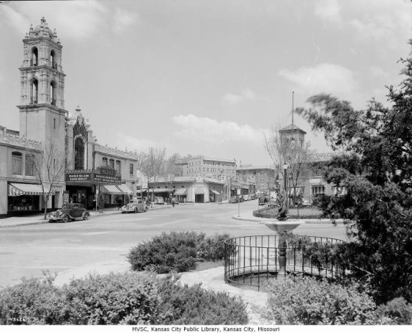 The Plaza Theater at left, 1937 courtesy of Missouri Valley Special Collection