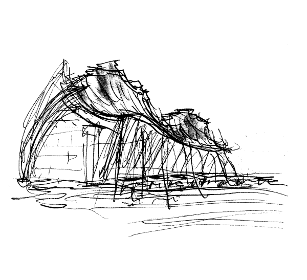 One of Safdie's sketches Courtesy of the Kauffman Center