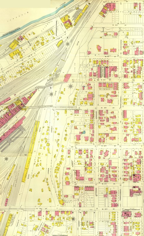 Sanborn Map West Bluffs - 1895 JPEG – Sanborn fire insurance map created in 1895 displaying portions of the West Bottoms, West Bluff residences, and Quality Hill. The area of the West Bluffs from 7th Steet south to 12th Street captures the extent of the early settlement in this area. Interestingly, the fact that the main thoroughfare passing through these residences was named Lincoln Street may be an indicator of one of Kansas City's early African-American settlements.