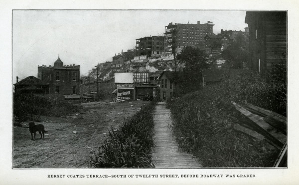 West Bluffs before West Terrace Park - ca. 1900 JPEG – View of West Bluffs residences and billboards that spotted the area below Quality Hill prior to the construction of West Terrace Park. Missouri Valley Special Collections, Kansas City Public Library, ca. 1900.