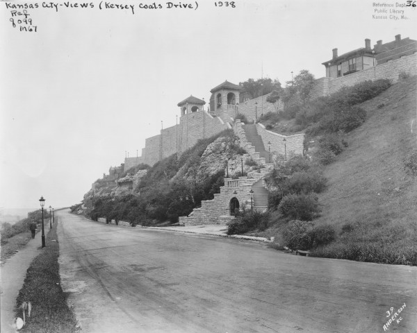 West Terrace Park - 1938 JPEG – View of completed stone towers, retaining wall and grotto in West Terrace Park taken from Kersey Coates Drive. The Grotto would fall victim to highway construction in the 1960s. Missouri Valley Special Collections, Kansas City Public Library, 1938.