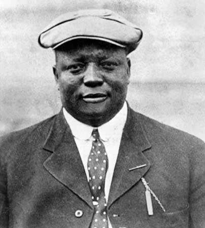 UNDATED: Rube Foster poses for a season portrait. Rube Foster in 1920 -1926 founded the first successful Negro league, the Negro National League, (Photo by National Baseball Hall of Fame Library/MLB Photos via Getty Images)
