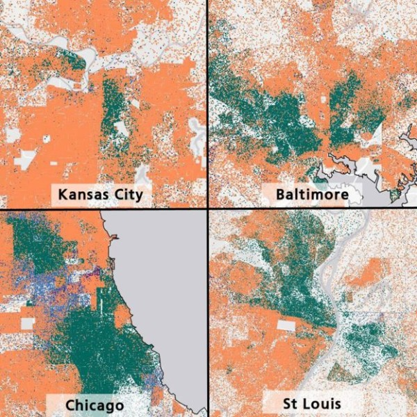 """A map of recent US Housing and Urban Development data shows segregated housing patterns. Each dot represents five people, with green representing black residents and orange representing whites."" Image first published by the BBC, www.bbc.com"