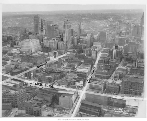 Figure 2: Aerial view looking south from River Market towards downtown circa 1940s