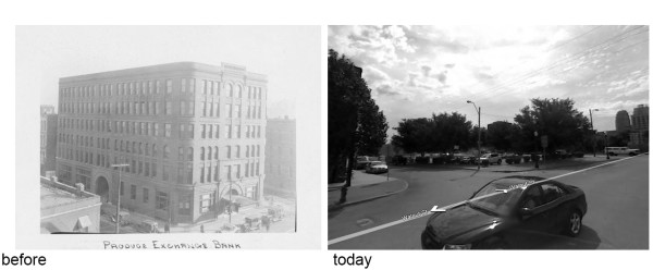 Figure 3: View looking southeast from intersection of Walnut and Missouri, 1928 and today