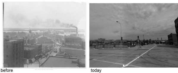 Figure 4: Looking North from 7th and Walnut, 1920s and today