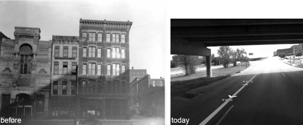 Figure 5: 545 Delaware, circa 1910 and today