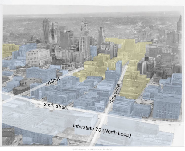 Figure 7: Aerial view looking south from River Market towards downtown circa 1940, with demolished buildings highlighted in blue, and demolished buildings replaced with newer structures highlighted in yellow