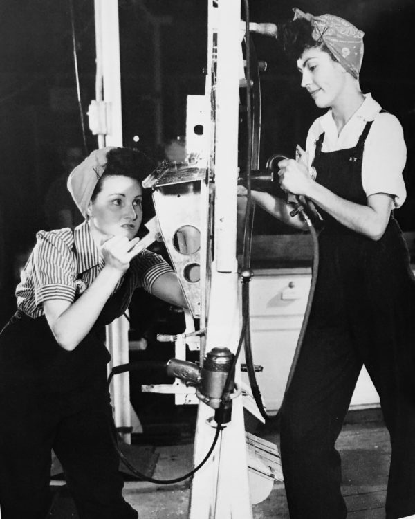Alice Howelett and Ernestine Hargis, a riveting team at the Kansas City B-25 Factory.